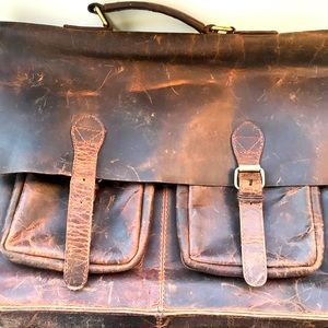 Retro Messenger Laptop Bag Distressed Look
